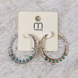 Melody Jewelry - Melody Silver Simulated Turquoise Hoop Earrings